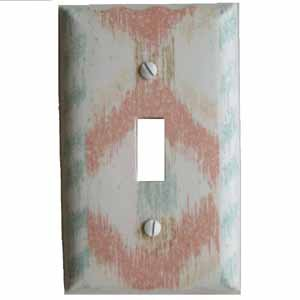 Salmon and Aqua Colored Light Switch Plate Cover (LS164E)