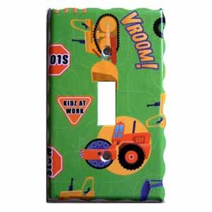 Children's Tractor Design Green Light Switch Plate Cover (LS170E)