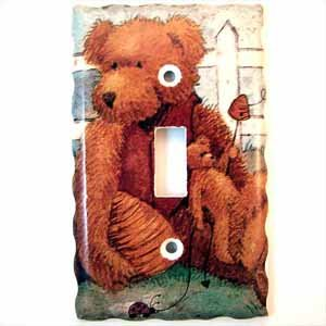 Fuzzy Bear Light Switch Plate Cover (LS214E)