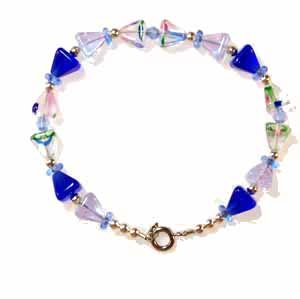Blue Pyramid Bracelet Handmade  (JE32E)