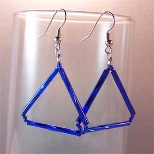 Handmade Blue Triangle Earrings Handmade (JE244)