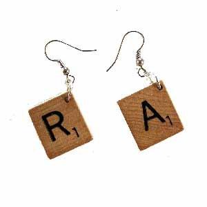 Scrabble Tile Earrings Letter R and A Handmade (JE322RA)