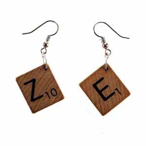Scrabble Tile Earrings Letter Z and E Handmade (JE322ZE)