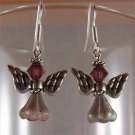 Angel Earrings Burgundy – Silver - Handmade (JE339)