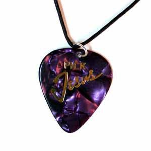 Purple Pick Jesus Guitar Pick Necklace - Handmade (JE278)
