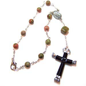 Car Rosary Unakite with Black Horseshoe Nail Cross (JE308)