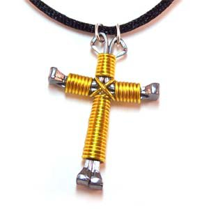Yellow Horseshoe Nail Cross Necklace (JE304)