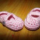 Pink Baby Booties Mary Jane Style - Size 3-6 months Handmade (CR2)