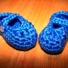 Blue Baby Booties Mary Jane Style - Size 0-3 months Handmade (CR12)