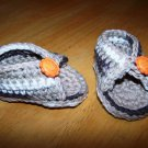Brown Baby Sandals - Smiley Face Buttons - Size 3-6 months Handmade (CR9)