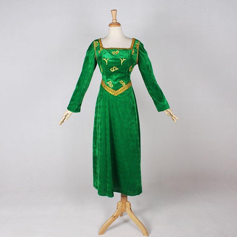 CosplayDiy Women's Green Dress Shrek Fiona Princess Dress Costume Anime Cosplay