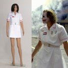 Cosplaydiy Women's Dress Batman Joker Nurse White Uniform Dress Cosplay  For Halloween Party