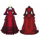 CosplayDiy Women's Renaissance Medieval Elegant ROCOCO Punk Gothic Red Evening Dress
