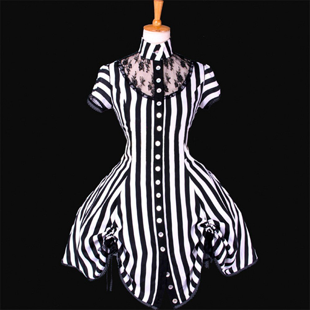 CosplayDiy Women\'s Black and White Stripe Ball Gown Medieval ...