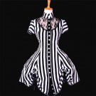 CosplayDiy Women's Black and White Stripe Ball Gown Medieval Victorian Dress