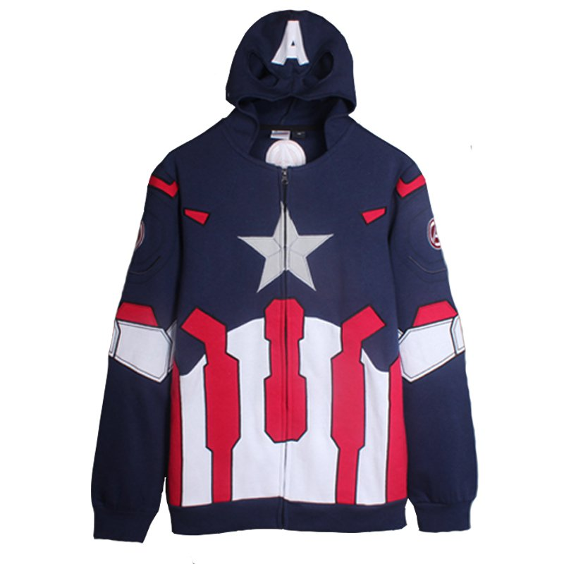 Adult Men's Coat Captain America hoodie Jacket Costume Cosplay