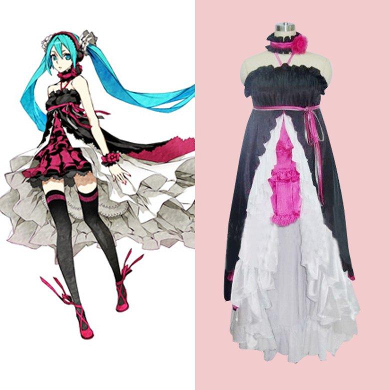 Cosplaydiy Women S Dress Vocaloid Hatsune Miku Black Dress