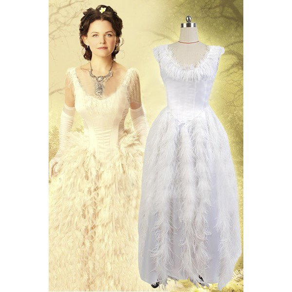 CosplayDiy Women's Costume Once Upon A Time Snow White Princess White Fancy Dress Cosplay