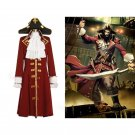 Cosplaydiy Men's Outfit Pirate Captain Scarlet/Black Heart Trench Cosplay For Halloween