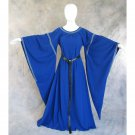 CosplayDiy Women's Medieval Bell Sleeve Blue Dress Victorian Period Costume For Halloween
