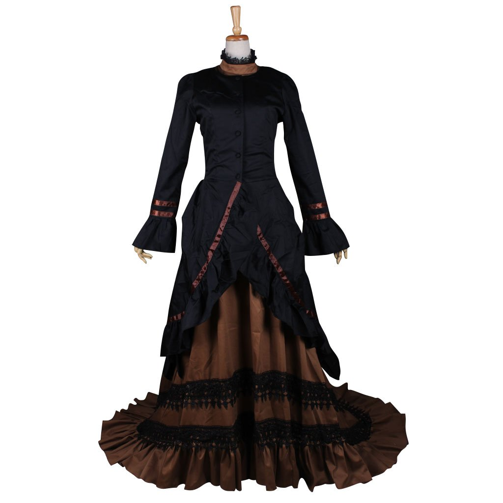 CosplayDiy Women's Black&Brown Renaissance Dress Medieval Victorian Gothic Dress