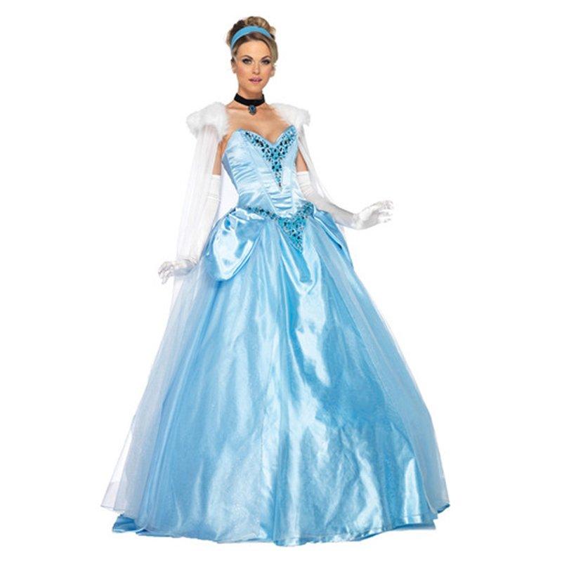 CosplayDiy Women's Deluxe Elegant Princess Cinderella Dress Costume Anime Cosplay