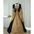 CosplayDiy Women's Renaissance Medieval Black And Gold Taffeta Dress Wedding Dress Halloween Cosplay