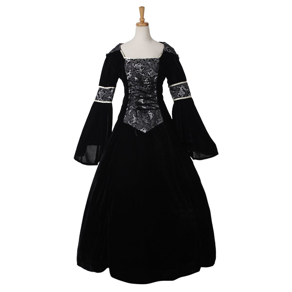 CosplayDiy Women's Black Wedding Medieval Renaissance Victorian Dress For Halloween Party