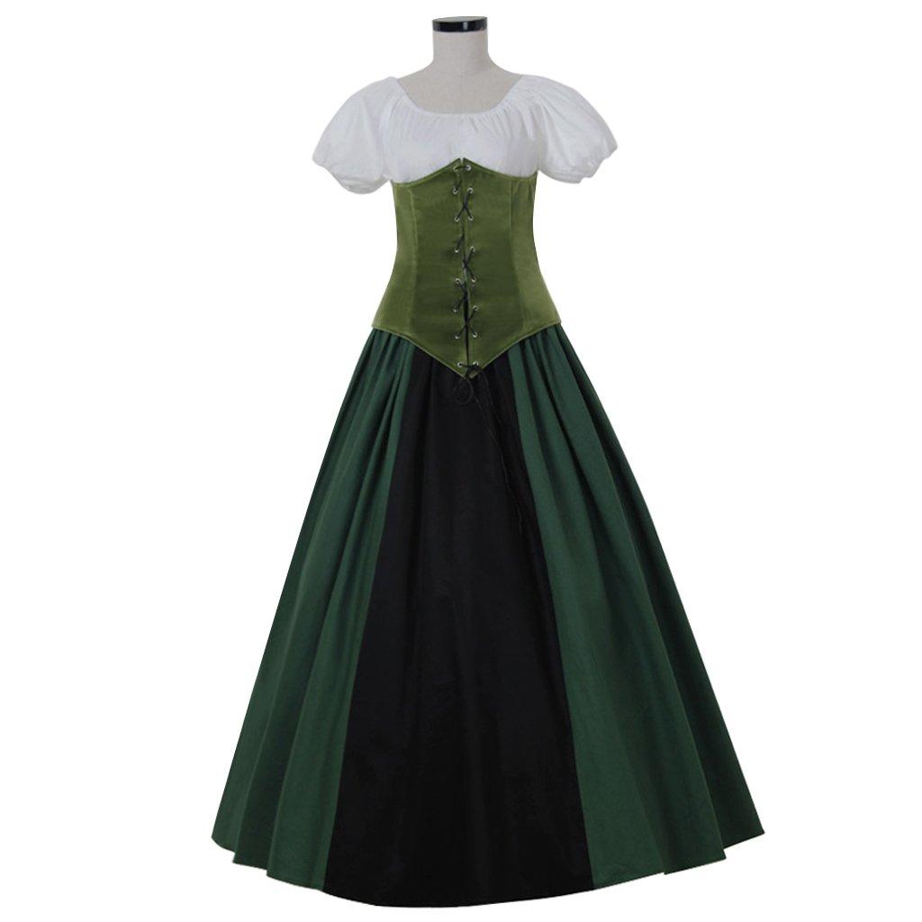 CosplayDiy Women\'s Green Southern Dress Medieval Renaissance Ball ...