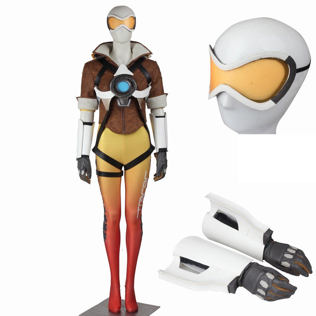 Custom Made Overwatch Tracer Lena Oxton Cosplay Costume For Halloween Party
