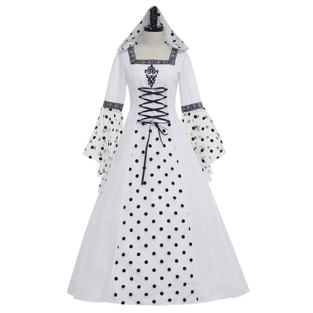 CosplayDiy Women's White Wedding Medieval Dress Victorian Ball Gown Dress For Party
