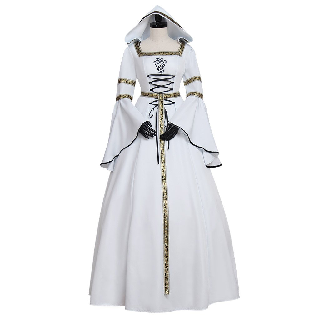 CosplayDiy Women's White Medieval Wedding Dress Victorian Style Cosplay For Party