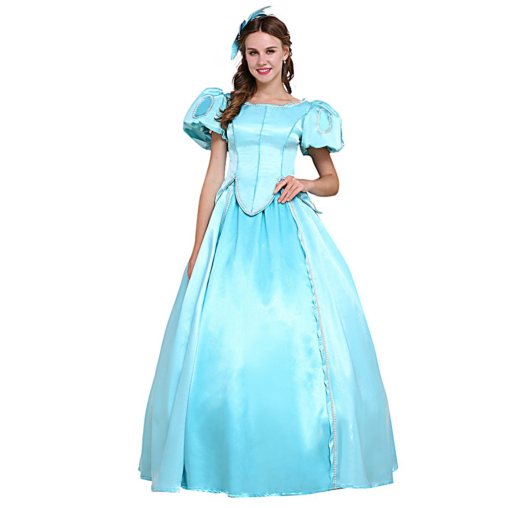 Ariel Blue Dress The Little Mermaid Women Short Sleeve Dress Costume Cosplay  sc 1 st  CosplayDiy - eCRATER & Ariel Blue Dress The Little Mermaid Women Short Sleeve Dress Costume ...
