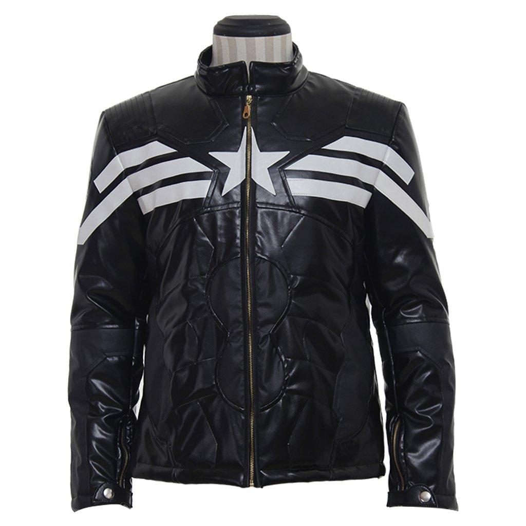 CosplayDiy Men's Jacket The Avengers Captain America Leather Jacket Coat Costume Cosplay