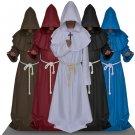 CosplayDiy Men's Cape Star Trek Monk Priest Europe Medieval Hooded Robe Cloak Cape Costume Cosplay
