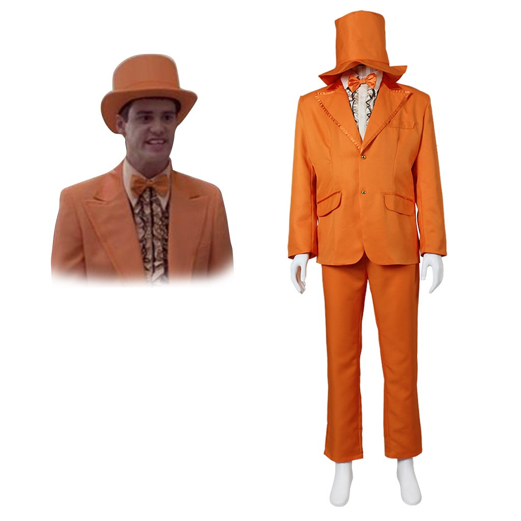 CosplayDiy Men's Orange Suit The Dumb and Dumber Lloyd Outfit Costume Cosplay for Halloween