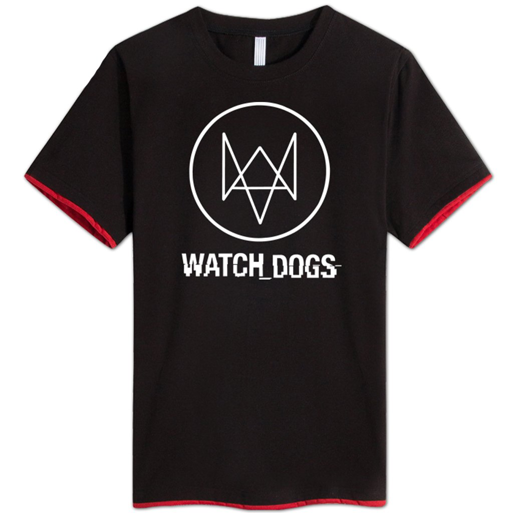 Watch Dogs Men's Shirt Black Round Shirt Printed with Short Sleeves T-shirt Costume Cosplay