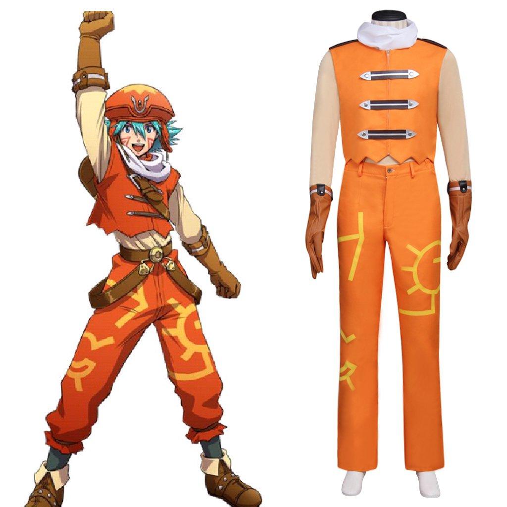 CosplayDiy Men's Costume Azure Flame Kite Orange Costume Cosplay for Halloween Party