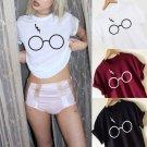 Free Shipping New Arrival Fashion Leisure Pashmina Loose Short Sleeve Shirt Glasses Printing T-shirt