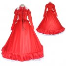 Vintage Women's Red Lolita Maid Dress Custom Made Party Dress Costume Cosplay