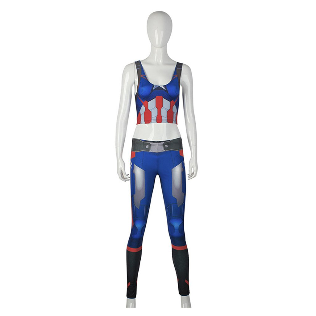 The Avengers Women's Captain America Top Pants Vest Tights Costume Cosplay for Sports for Halloween