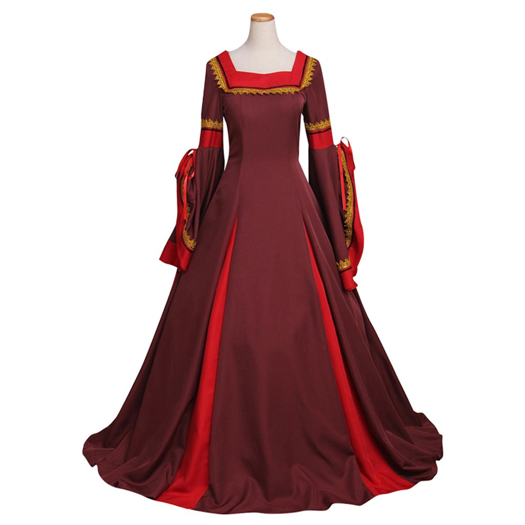 Custom Made Women's Dark Red Dress Cosplay Victorian Medieval South Manor Dress Costume Cosplay