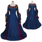 Women's Blue Spring Medieval Dress Cosplay Custom Made Vintage Medieval Dress Cosplay for Halloween