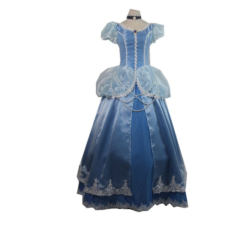 2017 Princess Belle Blue Dress Costume Cosplay Beauty and The Beast Belle Custom Made Dress Cosplay