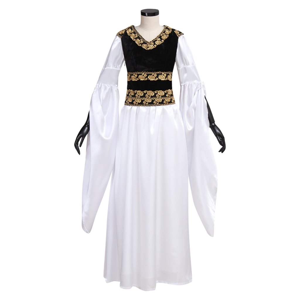 Adult's Dress Vintage Custom Made Medieval White Dress Black Vest Costume Cosplay for Carnival Party