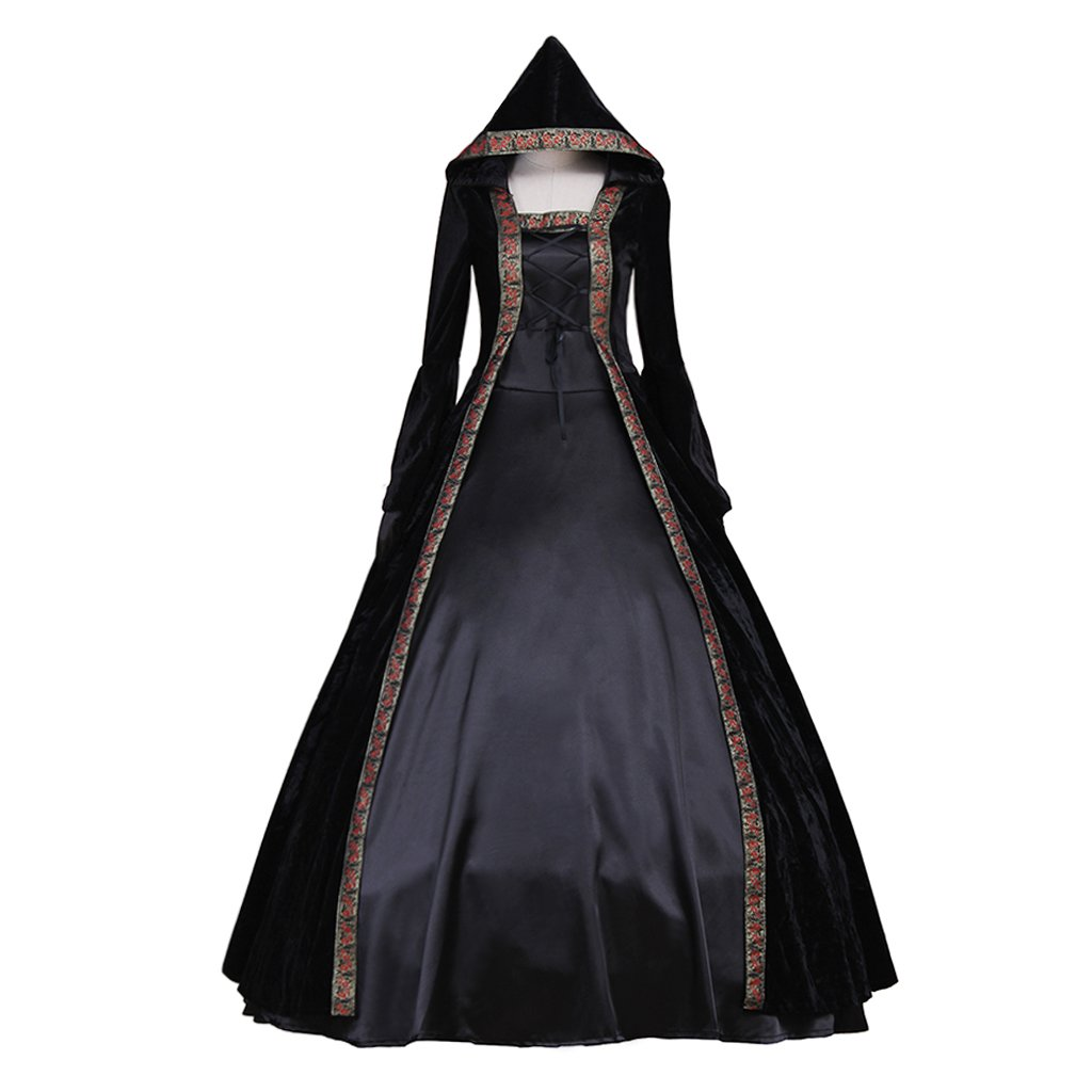 Adult's Black Dress Cosplay Vintage Medieval Women's Dress Cape Costume Cosplay for Party
