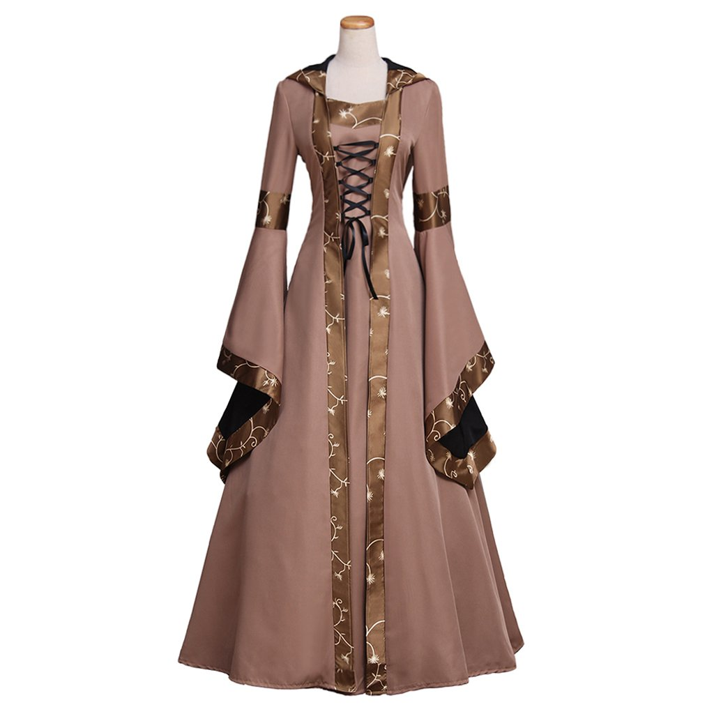 Custom Made Women's Dress Cosplay Vintage Victorian Medieval Dress with Hoodie Cosplay for Halloween