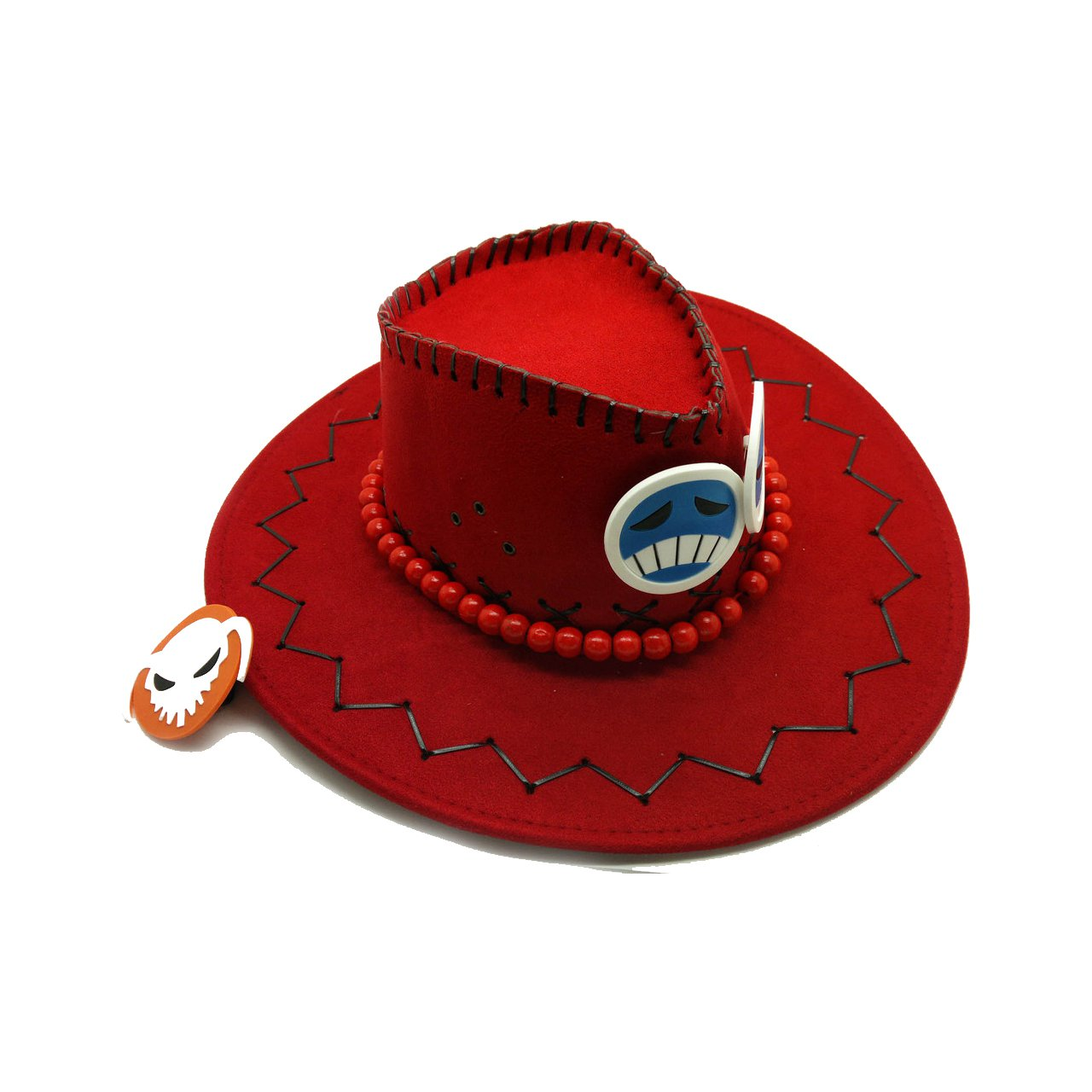 Ace Hats Cosplay Anime One Piece Hats Cosplay White Mustache Adult's Fashion Cowboy Hat Cosplay