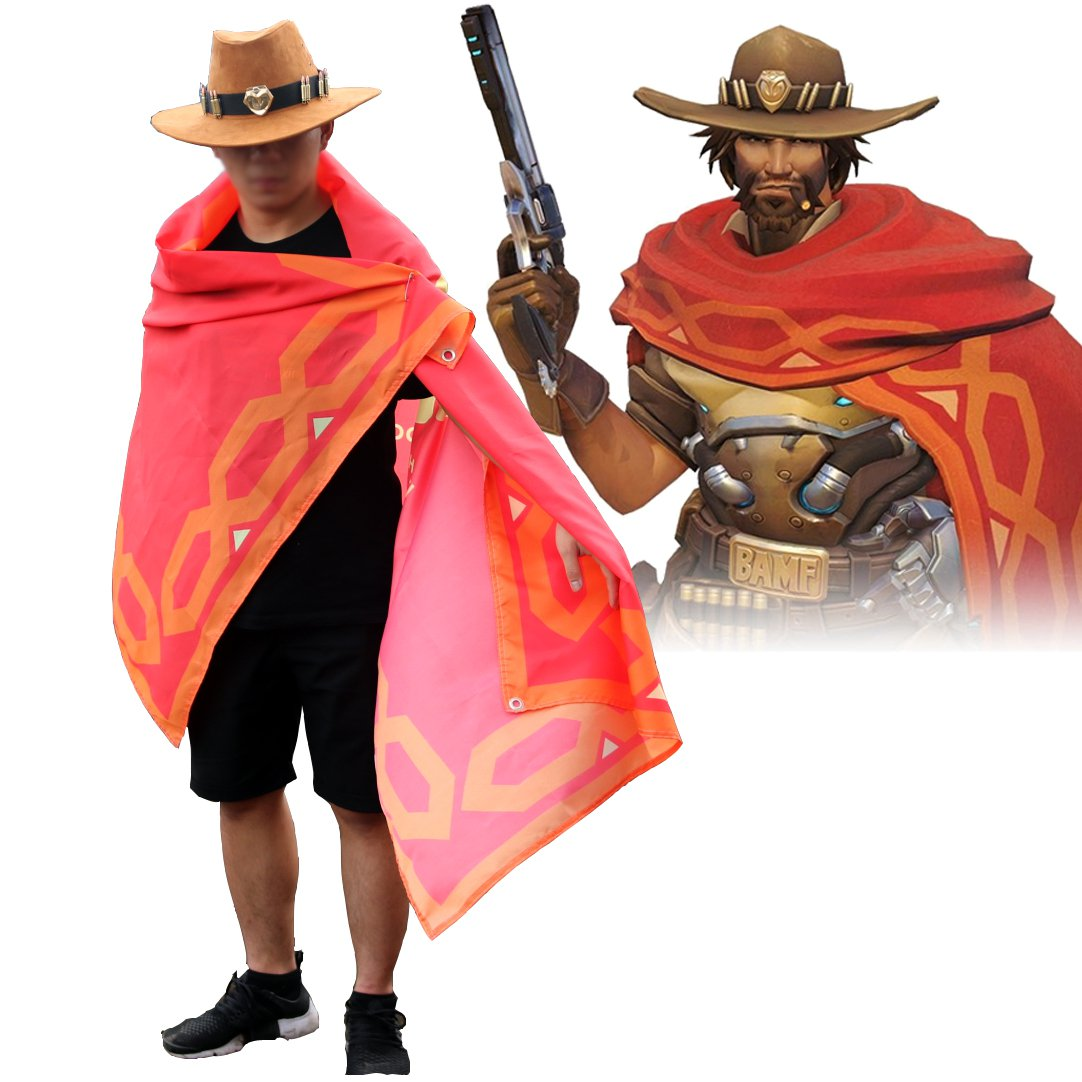 Free Shipping Overwatch Jesse Mccree Cape Hat Cosplay Accessories