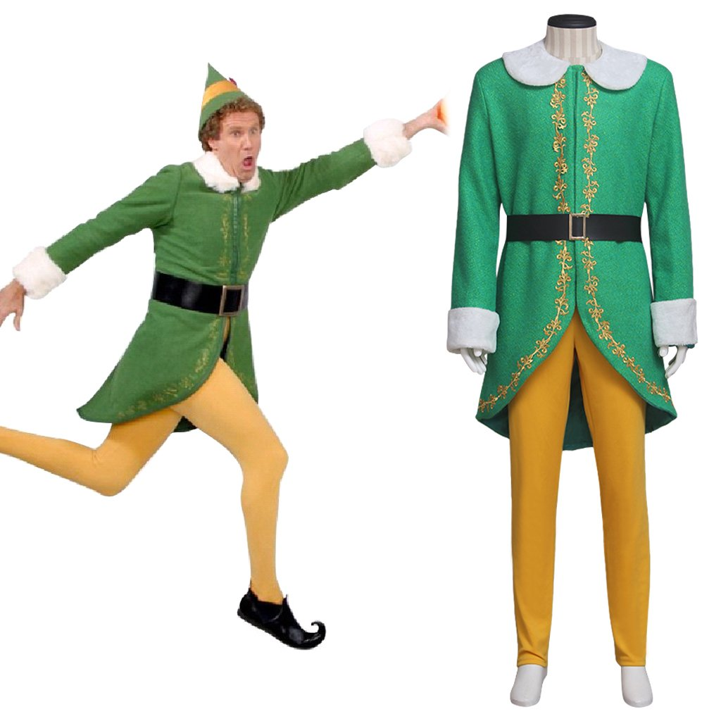 Elf Green Costume Cosplay Men's Party Suit Stage Outfit Costume Custom for Carnival Party